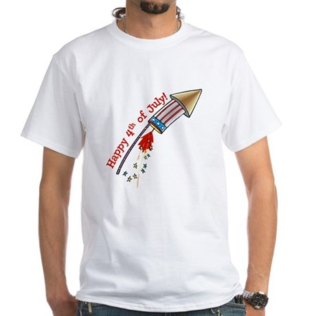 4th of July Rocket White T-Shirt