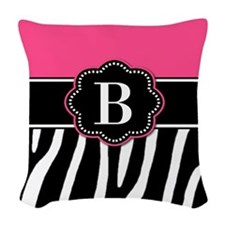 Pink Zebra Monogram Woven Throw Pillow