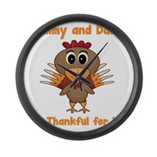 Thankful Turkey Large Wall Clock