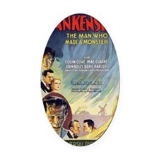 Vintage Frankenstein Horror Movie Oval Car Magnet