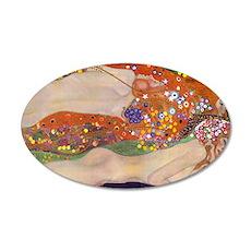 Gustav Klimt Water Serpents 35x21 Oval Wall Decal