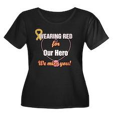 Wear red Women's Plus Size Dark Scoop Neck T-Shirt