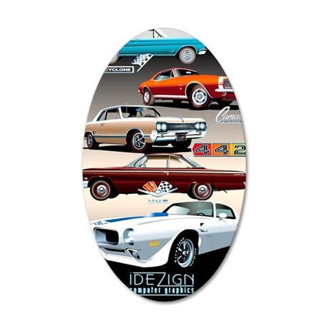 1960s Muscle Cars 35x21 Oval Wall Decal