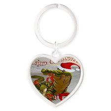 Cajun Christmas Heart Keychain