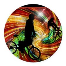 BMXers in Red and Orange Grunge S Round Car Magnet