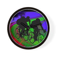 Cycling Trio on Ribbon Road Wall Clock