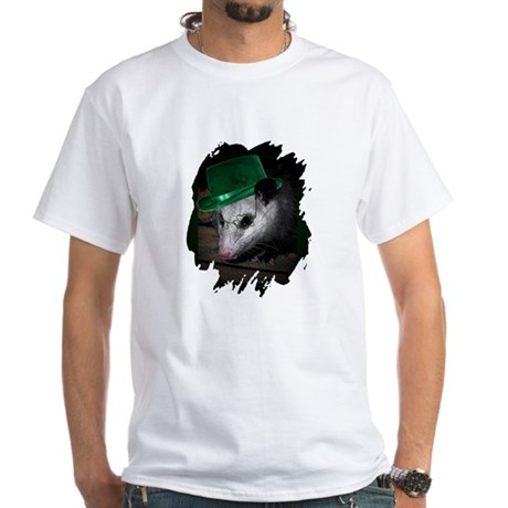 St. Patrick's Day Possum White T-Shirt