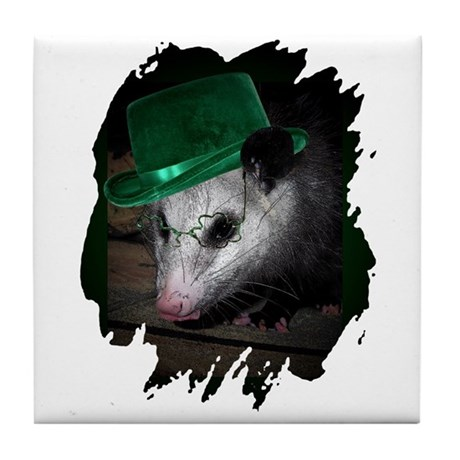 St. Patrick's Day Possum Tile Coaster