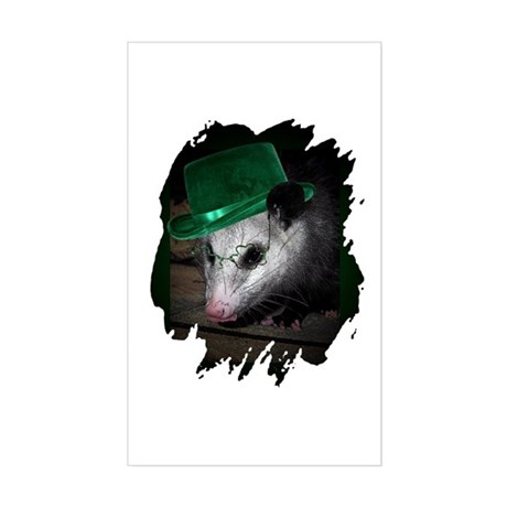 St. Patrick's Day Possum Rectangle Sticker