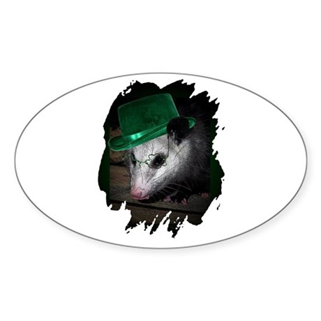 St. Patrick's Day Possum Oval Sticker