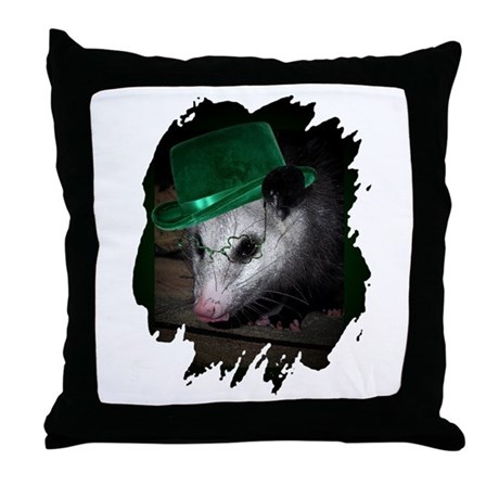 St. Patrick's Day Possum Throw Pillow