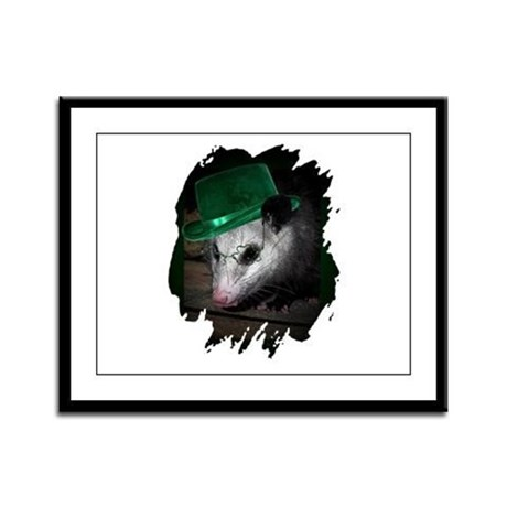 St. Patrick's Day Possum Framed Panel Print