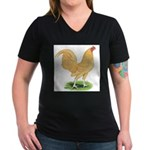 Buff OE Cock Women's V-Neck Dark T-Shirt