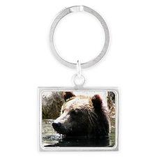 ALERT GRIZZLY BEAR Landscape Keychain