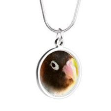 BLACK MASKED LOVEBIRD Silver Round Necklace