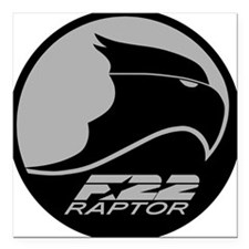 "F-22 Raptor - Grey Square Car Magnet 3"" x 3"""