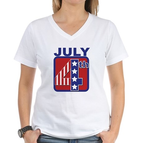 July 4th Women's V-Neck T-Shirt