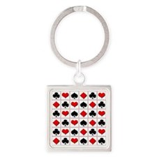 Playing card suits pattern Square Keychain