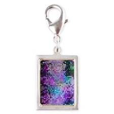 Disco Mirrors in Purple and  Silver Portrait Charm