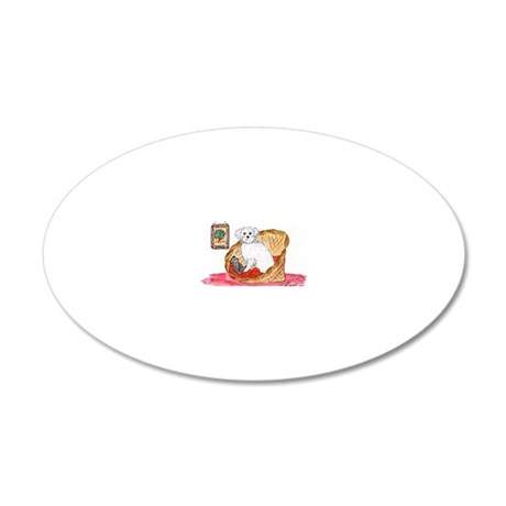 Bichon Frise waiting 20x12 Oval Wall Decal