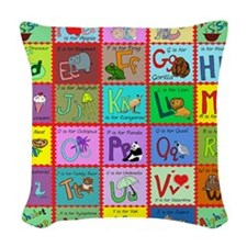 alphabet soup creations Woven Throw Pillow