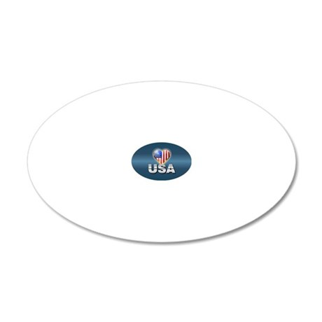 Patriotic Design 20x12 Oval Wall Decal