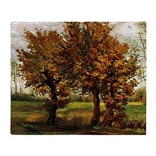 Van Gogh Autumn Landscape with Four  Throw Blanket