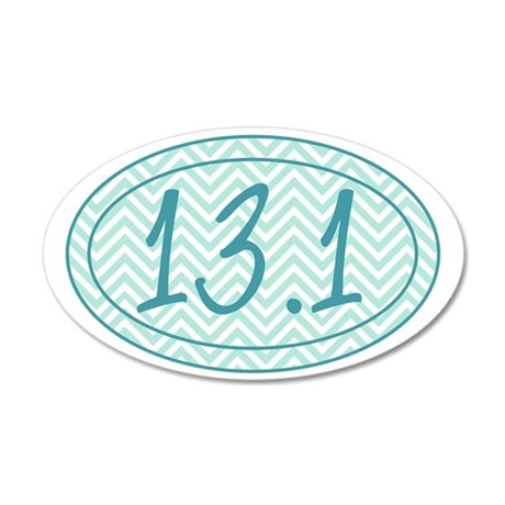 13.1 Blue Chevron 35x21 Oval Wall Decal