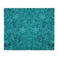 Leather Floral Turquoise Throw Blanket