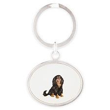 Cavalier (blk-tan) Oval Keychain