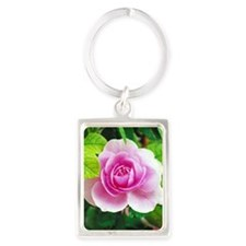 Pretty pink rose Portrait Keychain