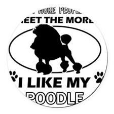 Poodle Designs Round Car Magnet