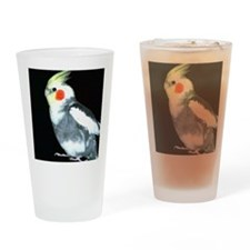 GRAY AND WHITE COCKATIEL Drinking Glass