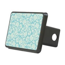 Turquoise and Cream Damask Hitch Cover