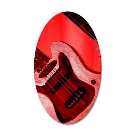 Bold Red Guitar 35x21 Oval Wall Decal