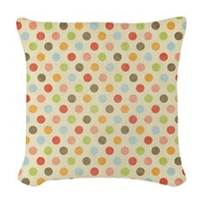 Faded Rainbow Polka Dot Woven Throw Pillow