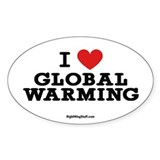 I Love Global Warming Oval Decal