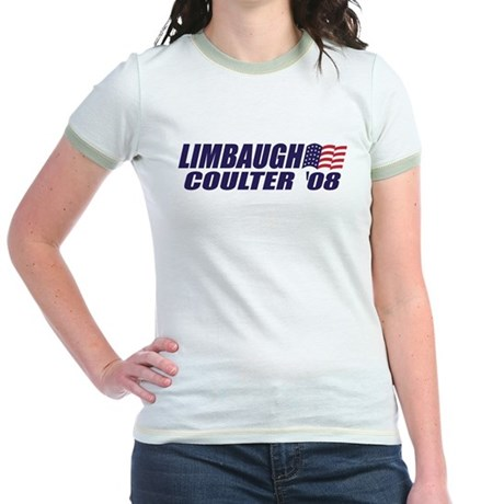 Limbaugh / Coulter President 2008 Jr. Ringer T-Shi