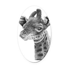 Giraffe Calf Panel Print Oval Car Magnet