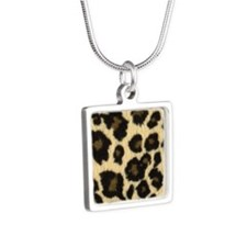 Leopard Print Silver Square Necklace
