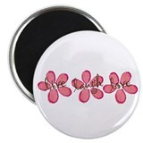 "live, laugh, love flowers (pink) 2.25"" Magnet (100"