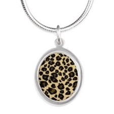 Leopard Print Silver Oval Necklace
