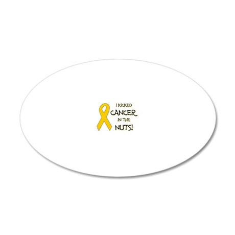 I KICKED CANCER IN THE NUTS! 20x12 Oval Wall Decal