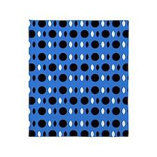 Cool Blue Black Perception Designer Throw Blanket