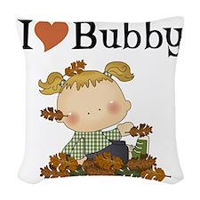 Autumn Girl I Love Bubby Woven Throw Pillow