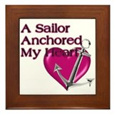 A Sailor Anchored My Heart Framed Tile