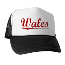 Wales, Vintage Red Trucker Hat