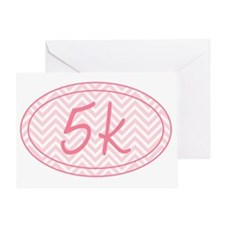 5k Pink Chevron Greeting Card
