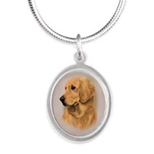 Golden Retriever Silver Oval Necklace