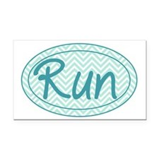 Run Blue Chevron Rectangle Car Magnet